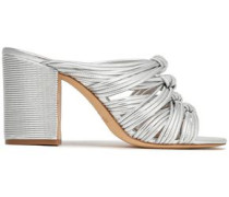 Odessa knotted metallic leather sandals