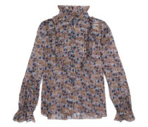 Ruffle-trimmed metallic floral-print stretch silk-georgette top
