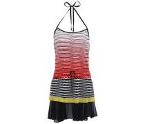 Mare Georgette-paneled Crochet-knit Halterneck Mini Dress Papaya