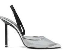 Metallic Leather And Satin-trimmed Mesh Slingback Pumps Silver