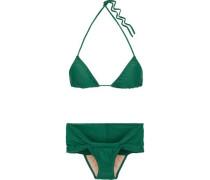 Woman Ruched Triangle Bikini Emerald