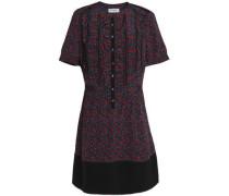 Ruffle-trimmed floral-print crepe mini dress