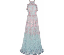 Lace-trimmed Embroidered Tulle Gown Sky Blue Size 16