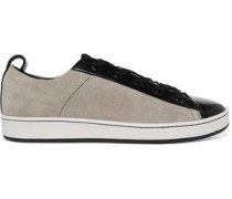 Brayden patent leather-paneled suede sneakers