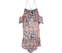 Beverley Cold-shoulder Ruffled Fil Coupé Chiffon Mini Dress Brick