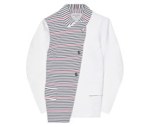 Asymmetric Paneled Striped Ponte Jacket White