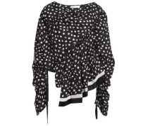 Woman Asymmetric Gathered Floral-print Silk-twill Blouse Black