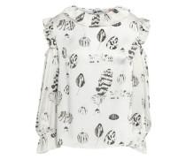 Cold-shoulder Printed Silk Blouse White