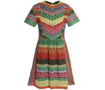 Paneled striped lace mini dress