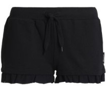 Embellished French cotton-blend terry pajama shorts