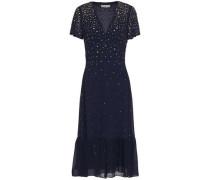 Woman Embellished Gathered Chiffon Midi Dress Navy