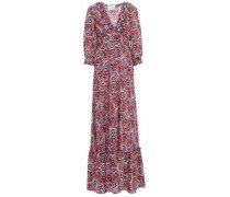 Sam Ruffle-trimmed Printed Voile Maxi Dress Multicolor