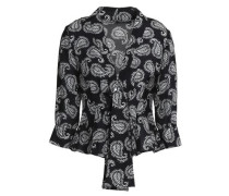 Printed silk crepe de chine wrap top