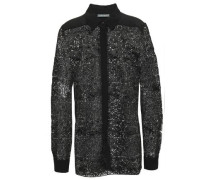 Satin-trimmed Guipure Lace Shirt Black