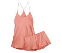Bella Silk-satin Pajama Set Peach