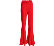 Stretch-crepe Flared Pants Red