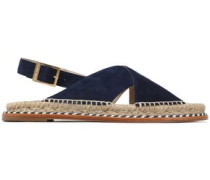 Braided leather-trimmed suede sandals