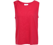 Woman The Tied Up Twisted Linen And Cotton-blend Jersey Tank Tomato Red