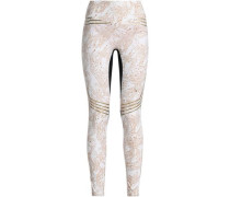 Mesh-paneled printed stretch leggings