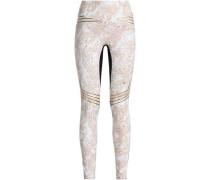 Mesh-paneled printed stretch leggings
