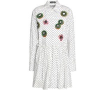 Embellished polka-dot cotton-poplin mini shirt dress