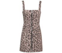 Leopard-print Cotton-blend Twill Mini Dress Animal Print