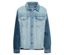 Distressed Two-tone Denim Jacket Light Denim