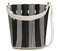 Pleated Textured-leather And Checked Woven Bucket Bag Black Size --