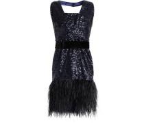Feather-trimmed sequined tulle halterneck dress