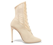 Janice Leather-trimmed Mesh Ankle Boots Beige