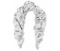 Fringed printed gauze scarf