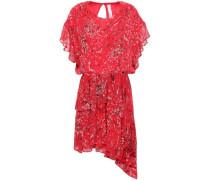 Blame Asymmetric Printed Chiffon Mini Dress Tomato Red