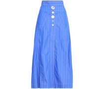 Aggie Button-detailed Pinstriped Cotton-poplin Midi Skirt Blue