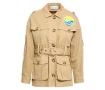 Appliquéd Cotton-gabardine Jacket Beige