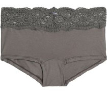 Mid-rise lace-trimmed cotton-blend stretch-jersey briefs