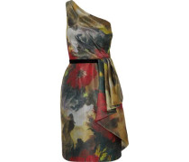 Draped one-shoulder jacquard dress