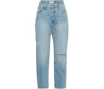 Cropped Distressed High-rise Straight-leg Jeans Light Denim  4