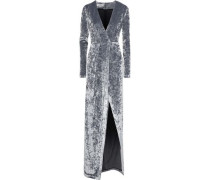 Cloud Wrap-effect Crushed-velvet Gown Gray