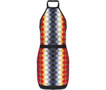 Intarsia-knit halterneck mini dress