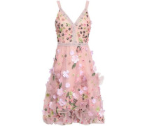 Lace-trimmed Embellished Tulle Dress Baby Pink
