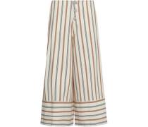 Striped cotton-canvas culottes