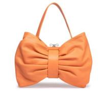 Bow-detailed Leather Tote Pastel Orange Size --