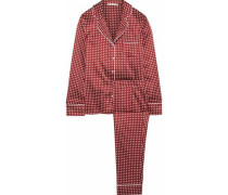Poppy Snoozing Polka-dot Stretch-silk Satin Pajama Set Claret