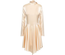 Lace-paneled Stretch-silk Satin Dress Beige