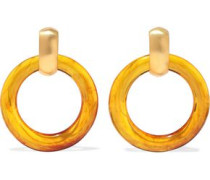 Gold-tone Resin Hoop Clip Earrings Saffron Size --