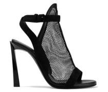 Suede And Leather-trimmed Mesh Sandals Black