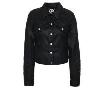 Woman Meggy Guipure Lace-trimmed Coated-denim Jacket Black
