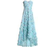 Strapless floral-appliquéd embroidered tulle midi dress