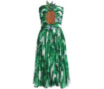 Ruched embellished silk-chiffon dress