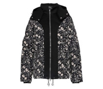 Blanche Neoprene-paneled Floral-print Shell Hooded Coat Black